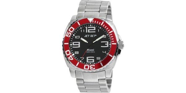 Pánské stříbrno-červené analogové hodinky Jet Set