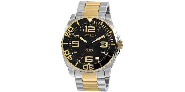 Pánské zlato-stříbrné analogové hodinky Jet Set