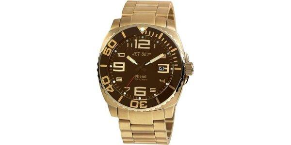 Pánské zlato-hnědé analogové hodinky Jet Set
