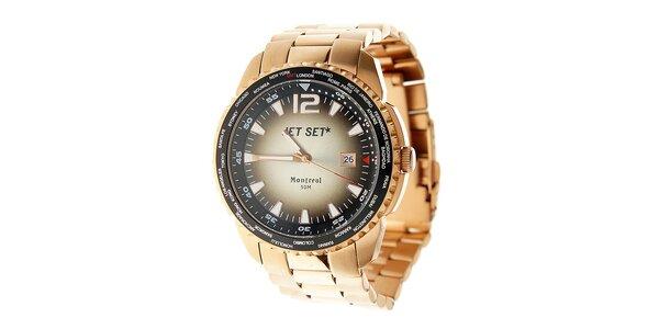 Pánské ocelové hodinky Jet Set v odstínu růžového zlata