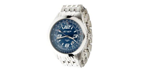 Pánské ocelové hodinky Jet Set s tmavě modrým ciferníkem
