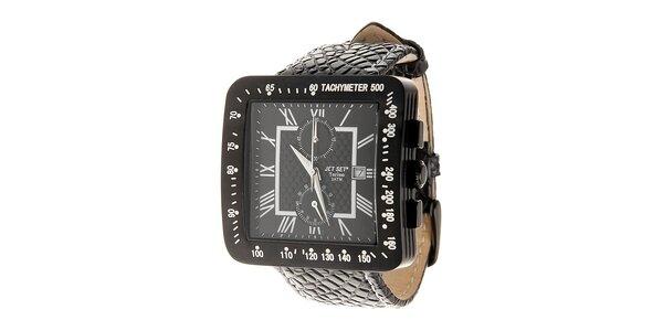 Černé ocelové hodinky jet Set s koženým řemínkem