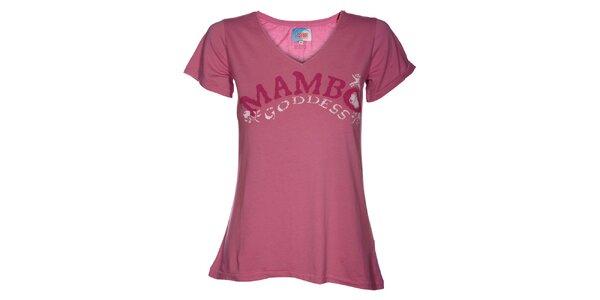 Dámské růžové tričko Mambo s potiskem