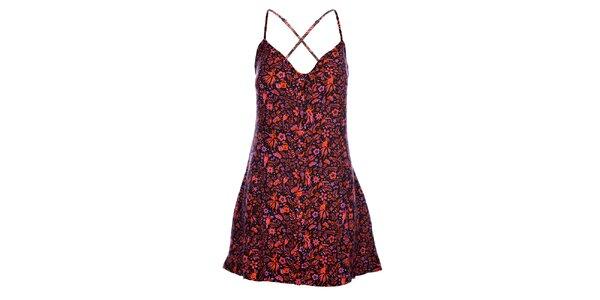 Dámské černé mini šaty Mambo s růžovým potiskem