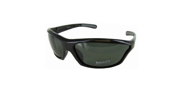 Černé sportovní brýle Timberland s šedě zabarvenými skly