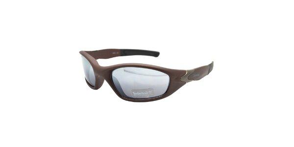 Hnědé sportovní brýle Timberland s modrými sklíčky