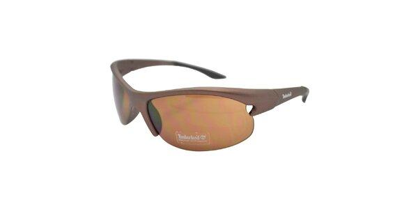Hnědé metalicky tónované sportovní sluneční brýle Timberland