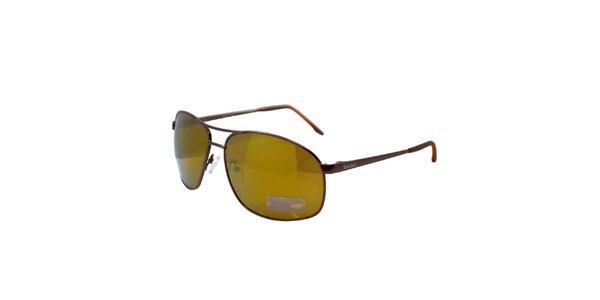 Hnědo-zelené kovové sluneční brýle Timberland