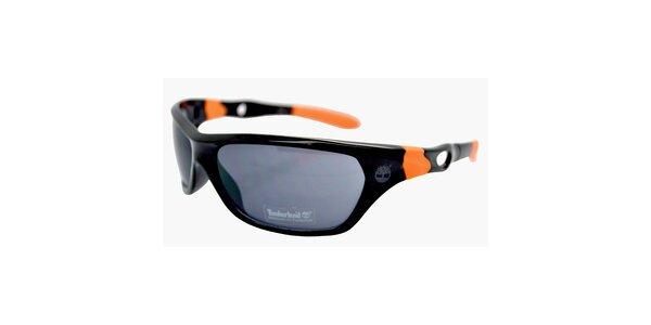 Černé sluneční brýle Timberland s oranžovými detaily