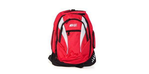 Červený městský batoh F7 Hati s bílými vsadkami