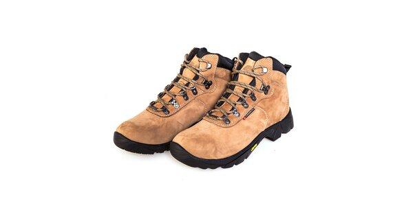 Béžové vysoké celokožené trekingové boty F7 Arizona III. s membránou a Vibramem