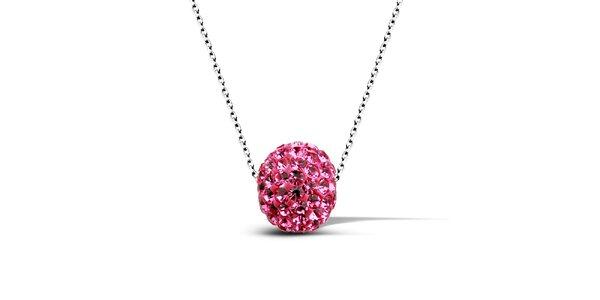 Dámský náhrdelník s růžovou disko koulí Giorgio di Mare