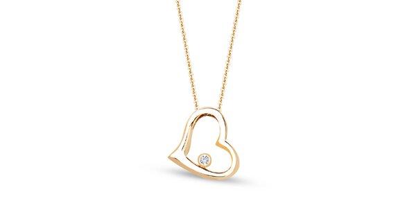 Dámský pozlacený řetízek s přívěskem ve tvaru srdce a zirkonem Giorgio di Mare