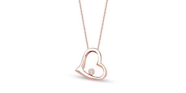 Dámský růžově tónovaný řetízek s přívěskem ve tvaru srdce a zirkonem Giorgio di…