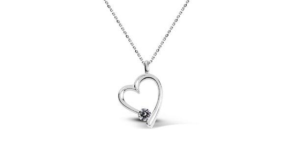 Dámský stříbrný náhrdelník ve tvaru srdce Giorgio di Mare se zirkonem