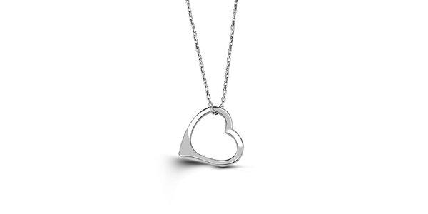 Dámský stříbrný náhrdelník ve tvaru srdce Giorgio di Mare