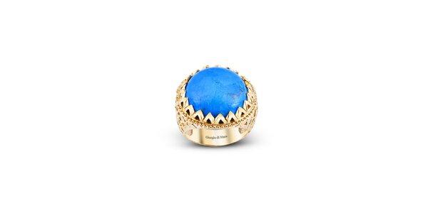 Dámský pozlacený prsten s kulatým tyrkysem Giorgio di Mare