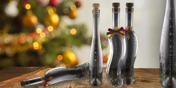Skleněné láhve s vypískovaným adventním kalendářem