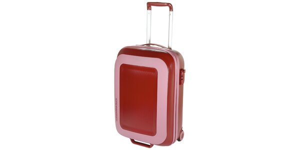Růžovo-červený cestovní kufr Mandarina Duck