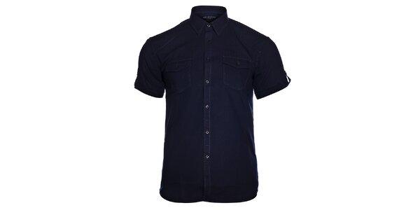 Pánská tmavě modrá košile Selected s krátkým rukávem a jemným vyšívaným proužkem