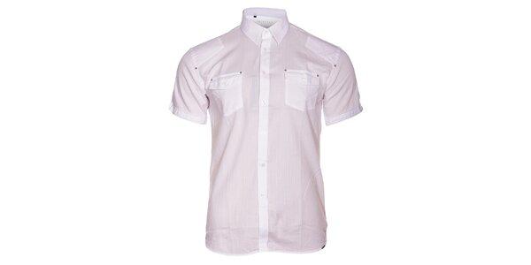 Pánská bílá košile Selected s krátkým rukávem a jemným vyšívaným proužkem