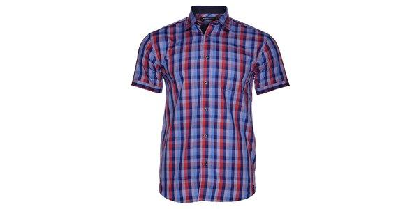 Pánská modro-červená kostkovaná košile Selected s krátkým rukávem