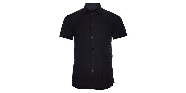 Pánská černá košile Selected s jemným proužkem a krátkým rukávem