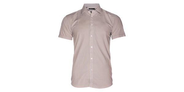 Pánská světle šedá košile Selected s jemným proužkem a krátkým rukávem