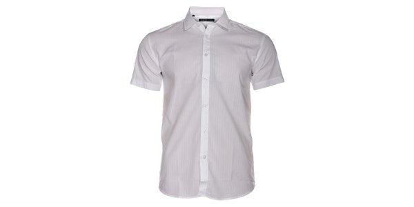 Pánská bílá košile Selected s jemným proužkem a krátkým rukávem