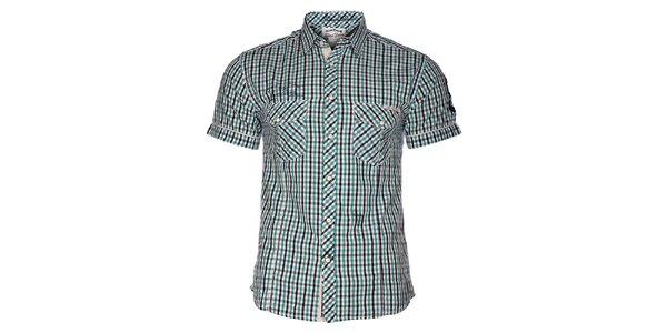 Pánská tyrkysově modrá kostičkovaná košile Selected s krátkým rukávem