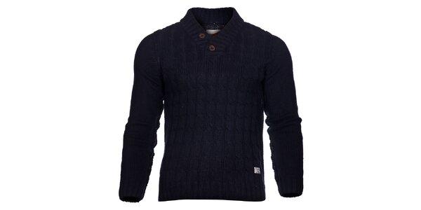 Pánský tmavě modrý pletený svetr Selected s copánkovým vzorem a záplatami