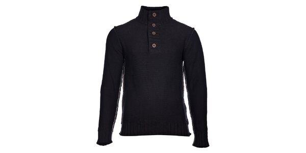 Pánský černý pletený svetr Selected se stojáčkem a šedým švem
