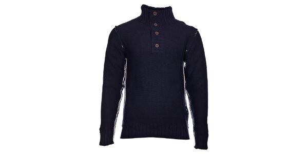 Pánský tmavě modrý pletený svetr Selected se stojáčkem a bílým švem