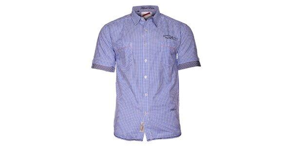 Pánská světle modrá kostičkovaná košile Selected s krátkým rukávem