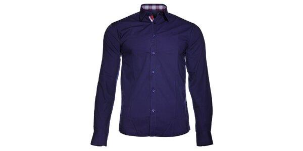 Pánská tmavě modrá košile Selected s károvanou légou