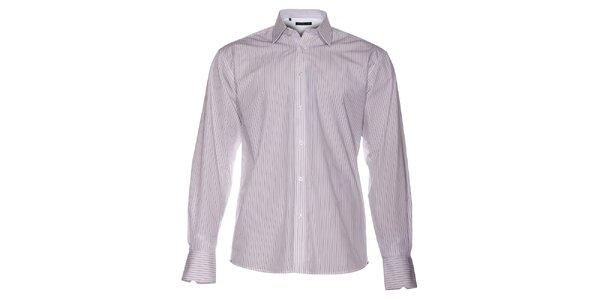 Pánská bílá košile Selected s úzkým černým proužkem