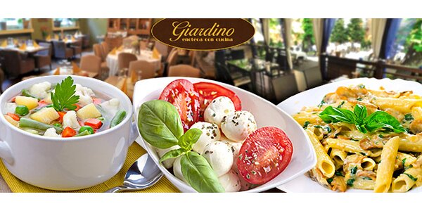 Volný výběr z jídelního lístku v italské restauraci Giardino