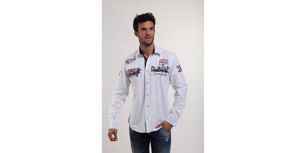 Pánská bílá košile s nášivkami Giorgio di Mare e2658351ea