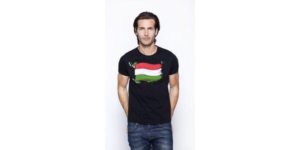 Pánské černé tričko s potiskem italské trikolory Giorgio di Mare