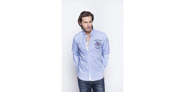 Pánská světle modrá košile s nášivkami Giorgio di Mare