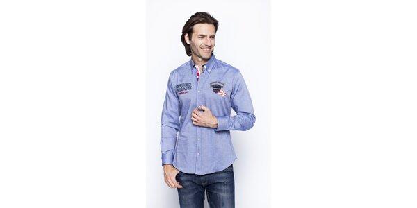 Pánská modrá žíhaná košile s nášivkami Giorgio di Mare