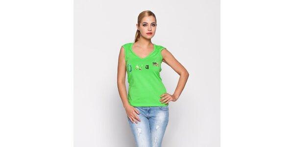 Dámské zelené tričko Giorgio di Mare se zlatým potiskem