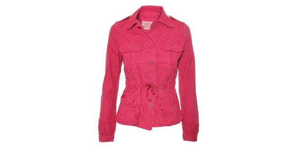 Fuchsiový dámský kabátek Naf Naf