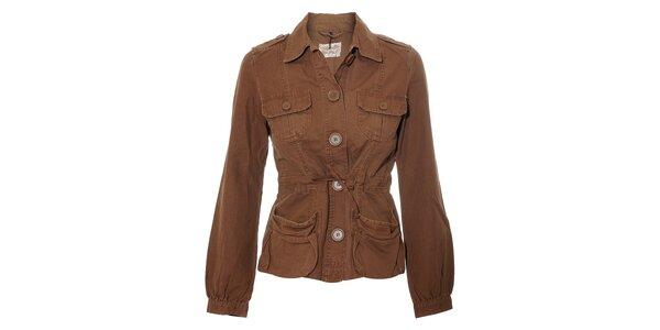Hnědý dámský kabátek Naf Naf