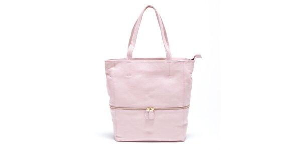 Dámská jemně růžová kožená kabelka Carla Ferreri