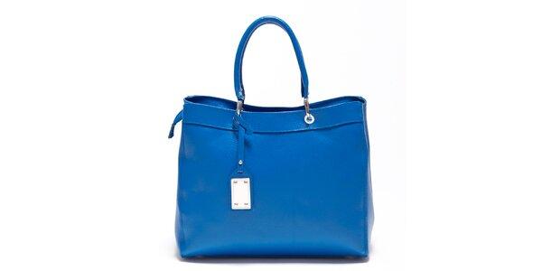 Dámská enziánově modrá kožená kabelka s visačkou Carla Ferreri