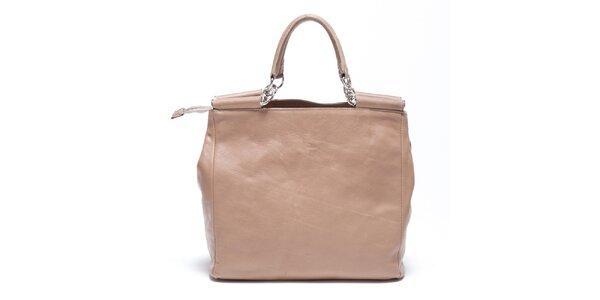 Dámská béžová retro kabelka s popruhem Carla Ferreri