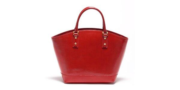 Dámská karmínově červená kožená kabelka Carla Ferreri
