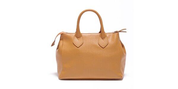Dámská koňaková kožená kabelka Carla Ferreri