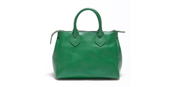 Dámská smaragdově zelená kožená kabelka Carla Ferreri